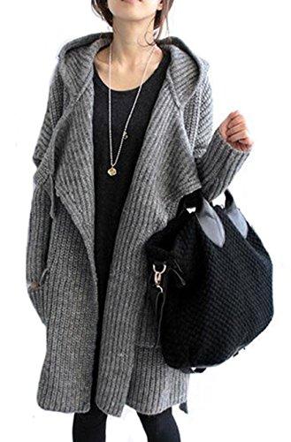 (アイユウガ)I-YUUGA ニットカーディガン ロングセーター アウター ニットコート フード付き ベルト ゆったり感 厚手 グレー フリーサイズ