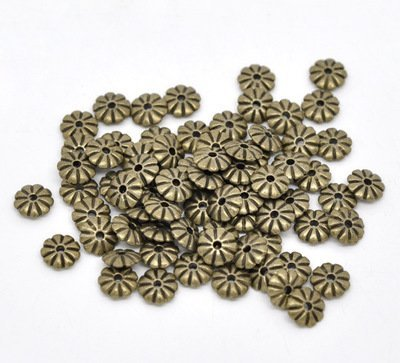 YC 100pcs Bronze Tone Flower Spacer Beads Findings 7x2mm Loose Metal Beads Craft DIY Jewelry Making Findings Charms Pendants