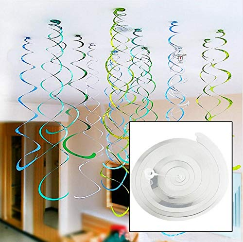 (Ct Hanging Swirl Decorations - Party Decorations - Birthday Party Supplies,6pcs/Pack Spiral Plastic Ornaments Party Scene Layout Garland Wedding Decoration Foil Swirls Banner Supplies (C))