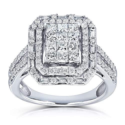 Rectangular Frame Diamond Cluster Ring 1ct TDW in 14k White Gold - Size 9