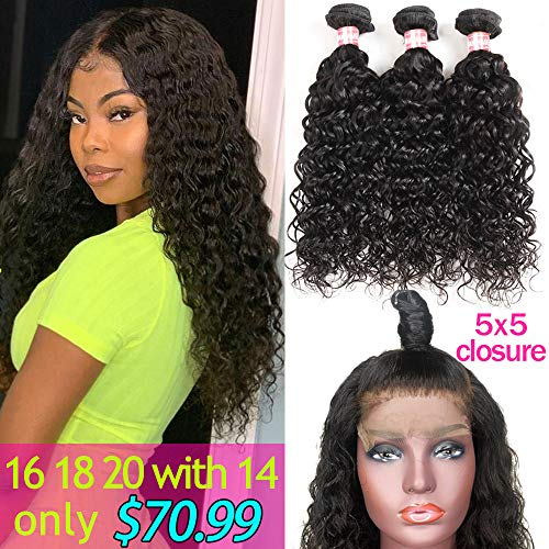 Yuling Brazilian Water Wave Bundles With Closure Wet And Wavy Human Hair Weave 3 Bundles With 5x5 Lace Closure 100% Unprocessed Virgin Remy Hair Extensions Free Part Natural Black Color(16 18 20 +14)