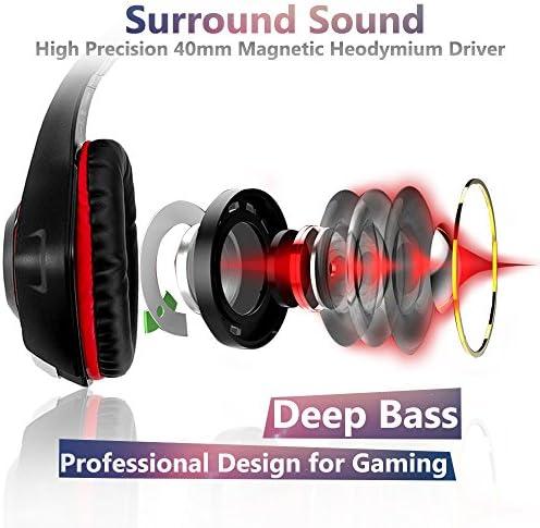 Beexcellent GM-1RED Gaming Kopfhörer für PS4 PC Xbox One, LED Light, rot 2