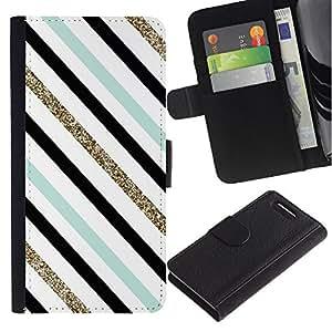 For Sony Xperia Z1 Compact / Z1 Mini / D5503,S-type® Teal Black White Diagonal Lines - Dibujo PU billetera de cuero Funda Case Caso de la piel de la bolsa protectora