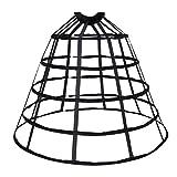 HappyStory Crinoline cage Hoop Skirt Pannier 5 Rows Elastic Waist Simple cage (Black 5 Hoops)