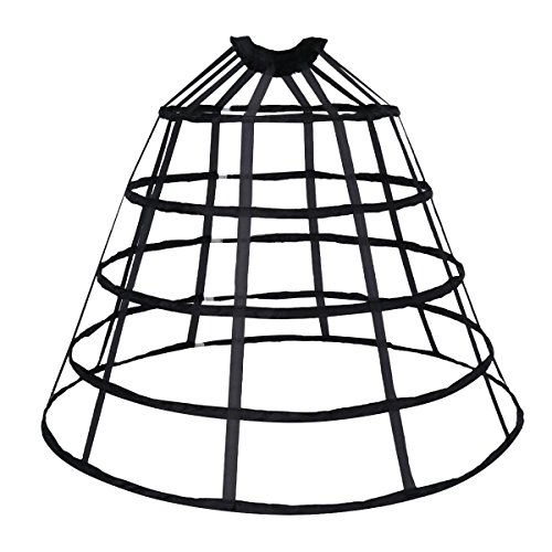 HappyStory Crinoline cage Hoop Skirt Pannier 5 Rows Elastic Waist Simple cage (Black 5 -