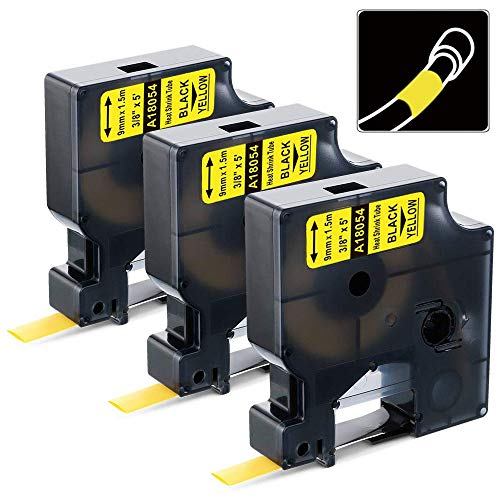 3 Pack Replace DYMO 18054 Industrial Yellow Heat Shrink Tube Labels Work with DYMO Rhino 5200 4200 5000 6000 Industrial Label Makers and More, Black on Yellow, 3/8 Inch x 4.9 Feet