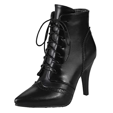 4673498cd2 Smilice Women Boots with Kitten Heel and Pointed Toe Lace Up Ankle Boots  with 3-Colors and Plus Size Avaialble: Amazon.co.uk: Shoes & Bags