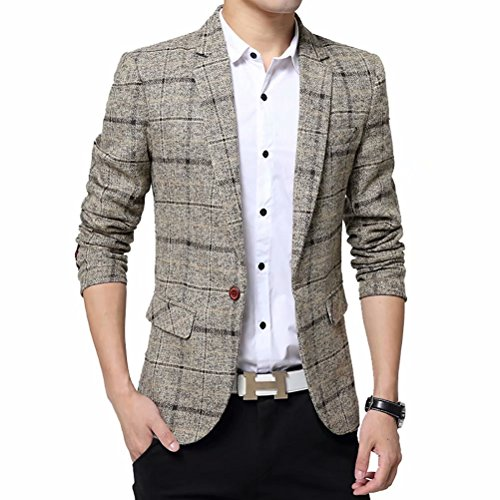 (Men's Tweed Plaid Blazer Jacket Casual Business Sport Coat Long Sleeve One Button Slim Fit Suits Single-Breast Outwear Khaki)