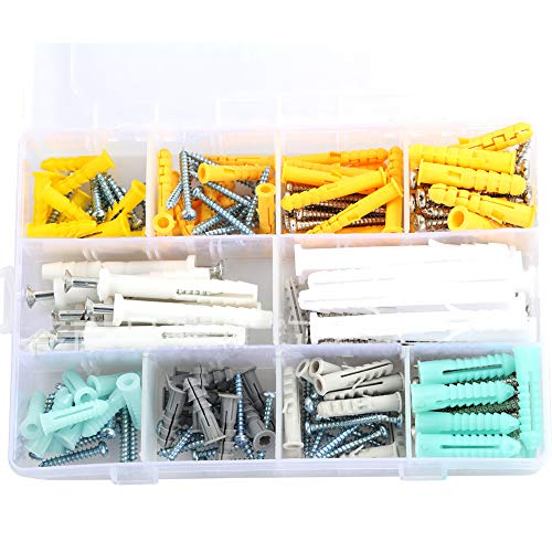 Drywall Anchors and Screws,COOLOGIN 200PCS Plastic Self Drilling Drywall Ribbed Anchors Assortment with Screws Kit for Drywall, Hollow-Wall Hanging Wall Shelf Or Blinds
