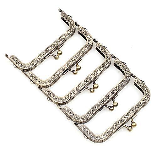 Metal Frame Purse Frame Kiss Clasp Lock Squared Design Bag Clutch Frame DIY Craft 5PCS 10.5X4.5CM ()