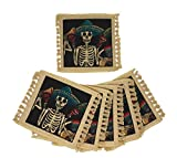 SpiritFest Sugar Skull Coasters: Set of 6 Day of The Dead Table Saving Decor (Mariachi)