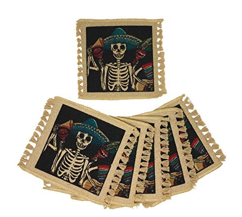 SpiritFest Sugar Skull Coasters: Set of 6 Day of The Dead Table Saving Decor (Mariachi) by Spirit Quest Supplies