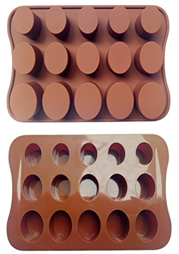 ADS Silicone Pastry Chocolate Cake Mold Baking Pan - Oval - 15 Cavities - 3 - Chocolate Oval Mold