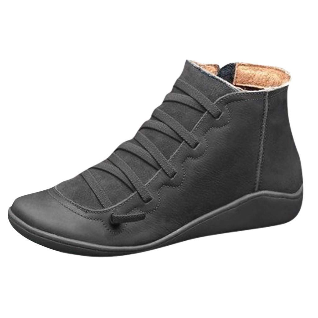 SADUORHAPPY Ankle Bootie Women Short Boots Shoes 2019 New Boots Lace Up Soft Flat Heel Boots Shoes for Winter