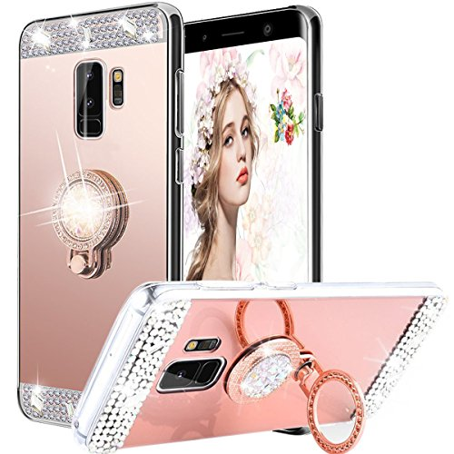 Galaxy S9 Case,WATACHE Luxury Glitter Shiny Bling Cute Diamond Mirror Makeup Case for Girls with Finger Ring Kickstand Flexible TPU Protective Case for Samsung Galaxy S9(Rose (Diamond Tpu Rubber Case)
