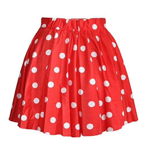 Happylife12 Women's Casual Polka Dot Pleated Short Skirts (Womens Red Tutu Skirt)