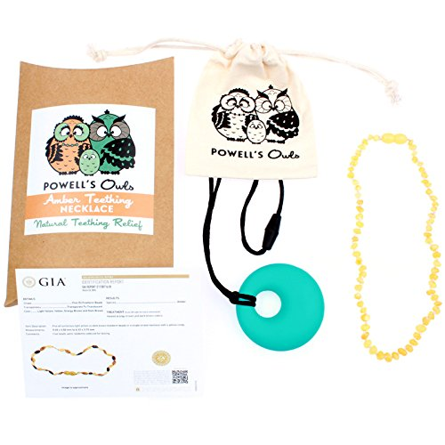 Baltic Amber Teething Necklace Gift Set + FREE Silicone Teething Pendant ($15 Value) Handcrafted, 100% USA Lab-Tested Authentic Amber - Natural Teething Pain Relief (12.5 Inches - Raw Unpolished Milk)