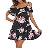 NEEDRA Dress! Women Summer Dress Cold Shoulder Slash Neck Floral Mini Dress Spaghetti Strap Beach Dress