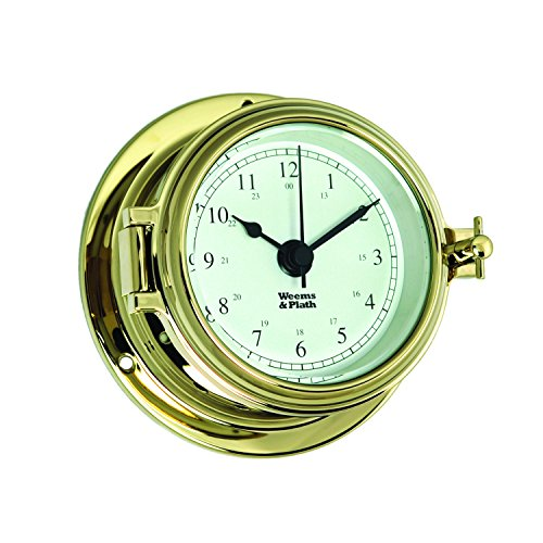 Weems and Plath Endurance II 105 Quartz Clock, - Clock Quartz Porthole Brass