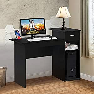 Pleasing Topeakmart Modern Compact Computer Desk Study Writing Table Workstation With Drawers And Printer Shelf For Small Spaces Home Office Furniture Download Free Architecture Designs Scobabritishbridgeorg