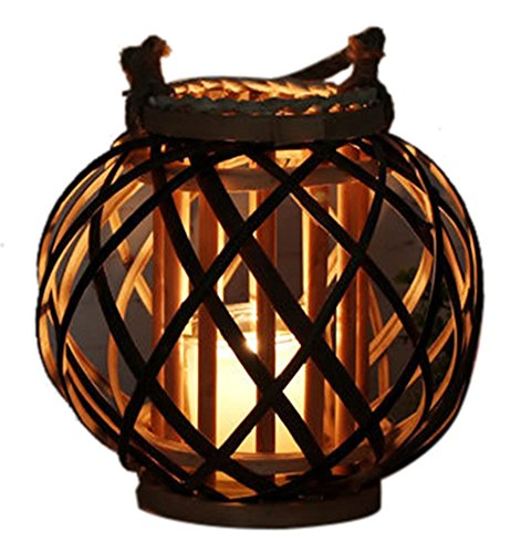 Asian Metal Candle Holder - Liveinu Asian Ratten Cylinder Cage Lantern Handmade Candle Holder Lamp L