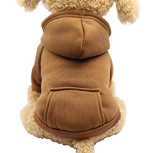 - Fashion Focus On New Winter Dog Hoodie Sweaters with Pockets Cotton Warm Dog Clothes for Small Dogs Chihuahua Coat Clothing Puppy cat Custume (Coffee, Small)
