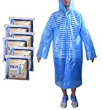 Emergency Rain Ponchos, JoyFamily 6 Count Disposable Raincoats with Attached Hood, Perfect for Travel, Theme Parks, Hiking, Fishing