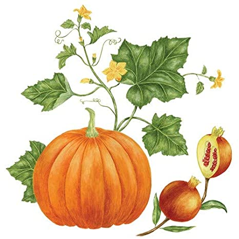 Triple Pumpkin Farmhouse Style Watercolor Flour Sack Tea Towel