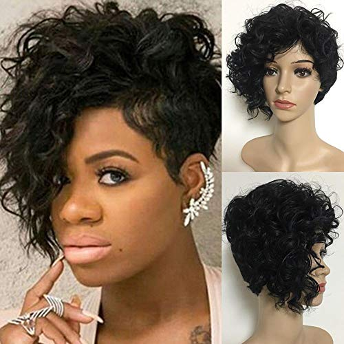 Iusun Short Curly Wigs - Ship From USA,Natural Looking Black Women's Full Haircut Wavy Heat Resistant Synthetic Hair Cosplay Costume Daily Party Anime Hair Wig High Temperature Fiber (Black)]()