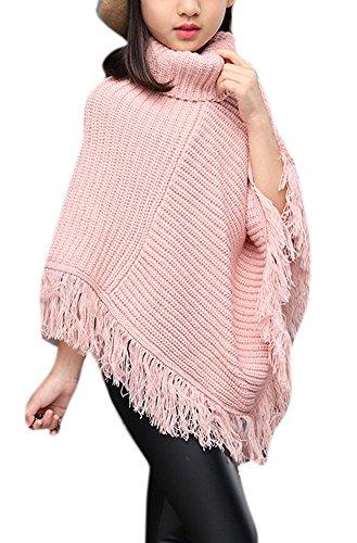 Girls Fall High Neck Knitted Tassel Draped Cloak Cape Sweater Soft Irregular Hem Top 160 Light Pink