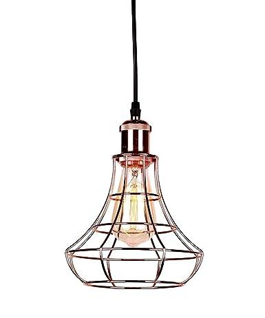 Lámpara colgante de techo vintage - Lámpara de jaula de metal de ...
