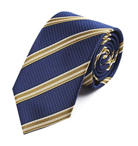 (Men's Navy Blue Bronze Jacquard Woven Bar Silk Ties Evening Married Soft Neckties)