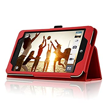 Acdream Asus Memo Pad 7 Lte Case, Premium Pu Leather Smart Cover Case For At&t Asus Memo Pad 7 Lte Gophone Prepaid Tablet Me375cl, Red 1