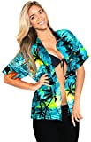 LA LEELA Women's Beach Button Down Short Sleeve Casual Blouse Hibiscus Flora