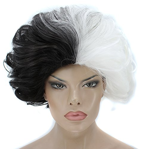 Anogol Hair Cap+ Short Wavy Wigs Black and White Cosplay Wig for Costume Wigs Puffy Fluffy Anime Synthetic -