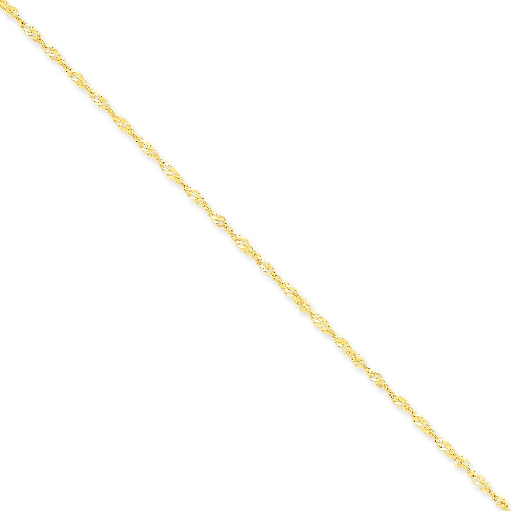 14k Solid Yellow Gold 1.70mm Singapore Necklace Chain Anklet Bracelet -10'' (10in x 1.7mm)