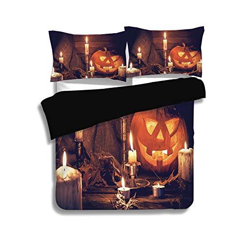 iPrint Black Duvet Cover Set Full Size,Halloween,Rustic Home