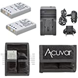 2 EN-EL5 Rechargeable Batteries + Car / Home Charger + Acuvar Battery Pouch for Nikon Coolpix 3700, 4200, 5200, 5900, 7900, P3, P4, P530 and Other Models