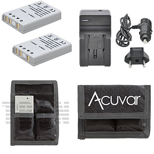2 EN-EL5 Rechargeable Batteries + Car/Home Charger + Acuvar Battery Pouch for Nikon Coolpix 3700, 4200, 5200, 5900, 7900, P3, P4, P530 and Other Models