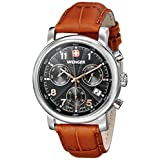 Wenger Men's 01.1043.103 Urban Classic Stainless Steel Watch with Brown Leather Band