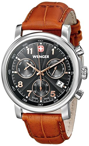 Wenger-Mens-011043103-Urban-Classic-Stainless-Steel-Watch-with-Brown-Leather-Band