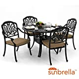 Lakeview Outdoor Designs Rosedown 5 Piece Cast Aluminum Patio Dining Set With Round Table Linen Sesame