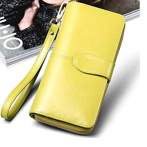 Women Purse Wax Lemon Wallet Bag Oil Female Hand Bag Zipper Yellow Elegant Multifunctional Long Leather PwOdxT7