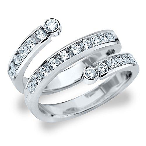 Platinum Diamond Curved Ring (1.0 cttw, F-G Color, VVS1-VVS2 Clarity) Size 13