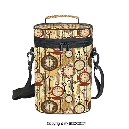 SCOCICI 3D Printed Wine Tote Bag with Unique Design,Retro Style Old Nostalgic Watches Feathers and Keys 1920s Bohemian Art,with Handle and Adjustable Shoulder Strap
