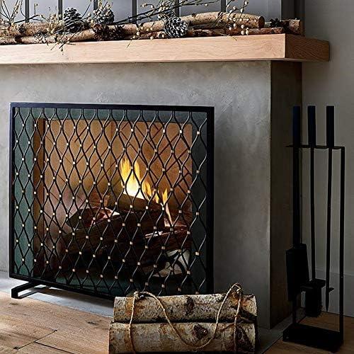 暖炉 スクリーン 現代の暖炉スクリーンフラット、ブラック錬鉄火画面スパークガード、ホームとハースのためのメッシュプロテクター門、38.6x30.7インチ