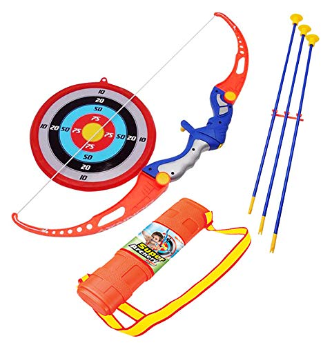 Liberty Imports Archery Bow and Arrow Toy Set for Kids with 3 Suction Cup Arrows, Target, and Quiver - Outdoor Garden Toys Game for Boys and Girls