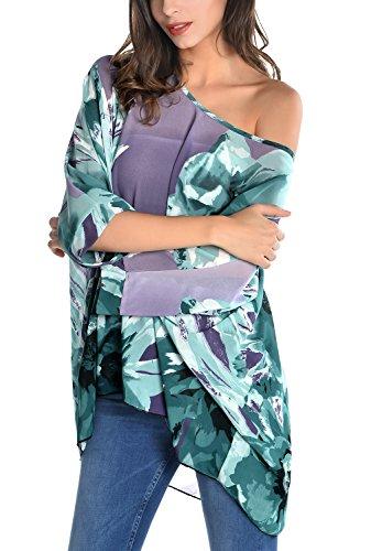 DJT Mujeres Blusa Fresca con estampo de flores Ligeramente transparente Morado #10