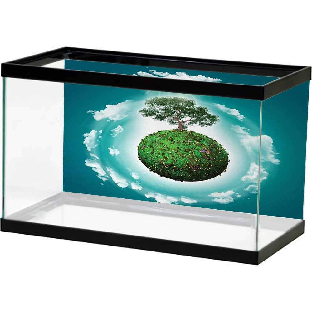 bybyhome Fish Tank Wall Sticker Tree of Life,Grassy Globe World with Plant Clouds in Air Science Fiction Mother Earth,Green Blue White Image Fish by bybyhome