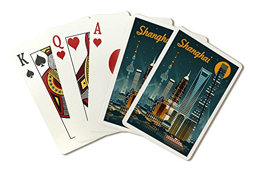 Shanghai, China - Retro Skyline (Playing Card Deck - 52 Card Poker Size with Jokers) China Paper Shanghai